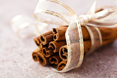 Zimtsteuerknüppel mit dekorativem Farbband Stockfotografie