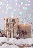 Zimy świeczka Obraz Royalty Free