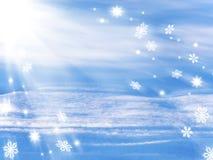 Zimy abstrakcjonistyczny tło z śniegiem, płatkami śniegu i gwiazdami, zdjęcie royalty free