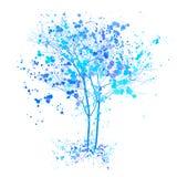 Zimy akwareli drzewo Błękitni drzewa z pluśnięciami i atrament kreślili ilustrację Zimy drzewa pojęcie royalty ilustracja