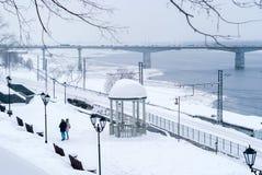 Zimy aleja na brzeg rzekim fotografia royalty free