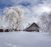 Zimy bajka, ciężki opad śniegu Obrazy Stock