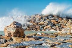 Zimy burza przeciw plaży Fala i wiatr Obraz Stock