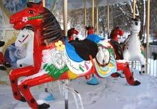 Zimy Carousel w Vilnius Obraz Stock