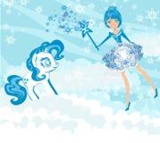 Zimy czarodziejka i cukierki jednorożec Zdjęcia Stock