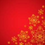 Zimy czerwień, złoty bożego narodzenia tło i tekstura z płatkami śniegu/ Obrazy Royalty Free