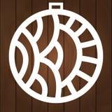 Zimy dekoracji wektorowy projekt Mas symbol dla papierowego rozcięcia, drewnianego cyzelowania i laseru rozcięcia, Choinek piłki fotografia stock