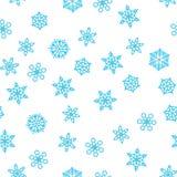 Zimy deseniowy opad śniegu i błękitni płatek śniegu na białym tle Nowy Rok i boże narodzenie wzór z opad śniegu, miecielica ilustracji