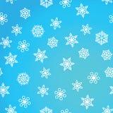 Zimy deseniowy opad śniegu i biali płatek śniegu na błękitnym tle Nowy Rok i boże narodzenie wzór z opad śniegu, miecielica ilustracji