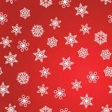 Zimy deseniowy opad śniegu i biali płatek śniegu na czerwonym tle Nowy Rok i boże narodzenie wzór z opad śniegu, miecielica ilustracja wektor