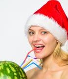 Zimy detox pojęcie Arbuza detox żywienioniowy napój Opieka zdrowotna i dieting Kobieta cieszy się detox napój dziewczyna zdjęcie royalty free