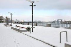 Zimy Dnipro brzeg rzeki Obraz Royalty Free