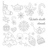 Zimy doodle elementy ustawiający Fotografia Royalty Free