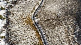 Zimy droga od above zdjęcie royalty free