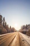 Zimy droga przez śnieżnych lasów Fotografia Stock