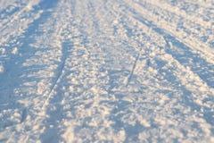 Zimy droga przez jezioro w rosjaninie Lapland, Kola półwysep Zdjęcie Stock