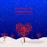 Zimy drzewo w formie serca Zdjęcie Stock