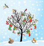 Zimy drzewo z ptakami, wiewiórka, Xmas buty, cand ilustracja wektor