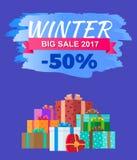 Zimy Duzi 2017 sprzedaży ogłoszenia Promo Dyskontowa etykietka Obrazy Royalty Free