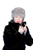Zimy dziewczyna na bielu Obrazy Royalty Free