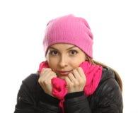 Zimy dziewczyny portret odizolowywający na bielu. zdjęcie royalty free
