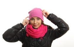 Zimy dziewczyny portret odizolowywający na bielu. zdjęcia royalty free
