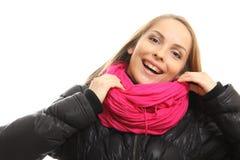 Zimy dziewczyny portret odizolowywający na bielu. fotografia stock