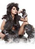 Zimy dzika kobieta Fotografia Royalty Free