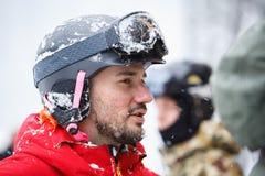 Zimy ekstremum bawi się festiwal w halnym śniegu parku zdjęcie stock
