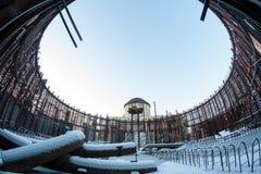 Zimy fotografia szczątek budowa zaniechana niedokończona elektrownia Zdjęcia Royalty Free