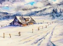 Zimy góry krajobraz z drewnianym domem i chmurnym niebem ilustracji