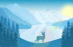 Zimy góry krajobraz z rogaczem w jeziorze przy wschodem słońca i lesie ilustracji