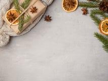 Zimy gorącej czekolady napój w filiżance na szarych betonowych tło tangerines dekoracj kopii świątecznej przestrzeni Zdjęcia Royalty Free