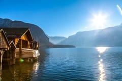 Zimy Hallstatt Alpejski miasteczko Hallstatter i jezioro Zdjęcia Royalty Free