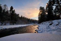 Zimy halna rzeka z śniegiem i zieleni woda na zmierzchu Bolshoy Zelenchuk rzeka Rosja zdjęcie royalty free