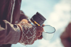 Zimy herbaciany przyjęcie Zdjęcia Royalty Free