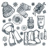 Zimy i jesieni podstawy, wektorowa nakreślenie ilustracja Mody odzież, spadków akcesoriów projekta elementy ilustracji
