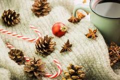 Zimy i nowego roku temat Bożenarodzeniowa gorąca parująca filiżanka glint wino z pikantność, anyż, jedlinowi rożki, ciastka w ksz zdjęcia royalty free
