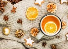 Zimy i nowego roku temat Bożenarodzeniowa herbata z pikantność fotografia royalty free