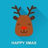 Zimy ikona z rogacza i teksta Szczęśliwym xmas Płaski projekt Obrazy Stock