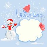 Zimy karta z bałwanem ilustracja wektor