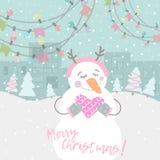 Zimy karta z kreskówka ślicznym bałwanem Zdjęcie Stock