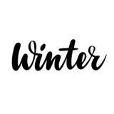 Zimy kartka z pozdrowieniami Wektor odosobniona ilustracja: szczotkarska kaligrafia, ręki literowanie Inspiracyjny typografia pla Obrazy Stock