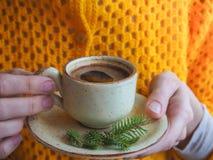 Zimy kawa filiżanki kobiety ręki Zdjęcia Stock