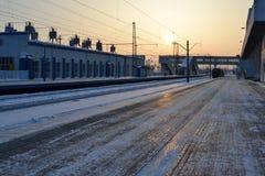 Zimy kolei platforma Zdjęcie Stock