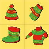 Zimy kolekcja ciepły odziewa ilustracja wektor