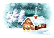 Zimy krajobraz, dom i drzewa z opadem śniegu, Akwareli ręka rysująca ilustracja ilustracja wektor