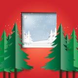 Zimy krajobrazowa scena od czerwonego pokoju Obraz Royalty Free