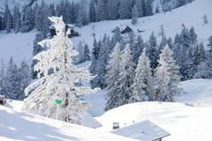 Zimy krajobrazowa scena w ośrodku narciarskim w Austria Obraz Stock