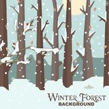 Zimy Lasowego tła Śnieżny Drzewny Wektorowy wizerunek Zdjęcia Royalty Free